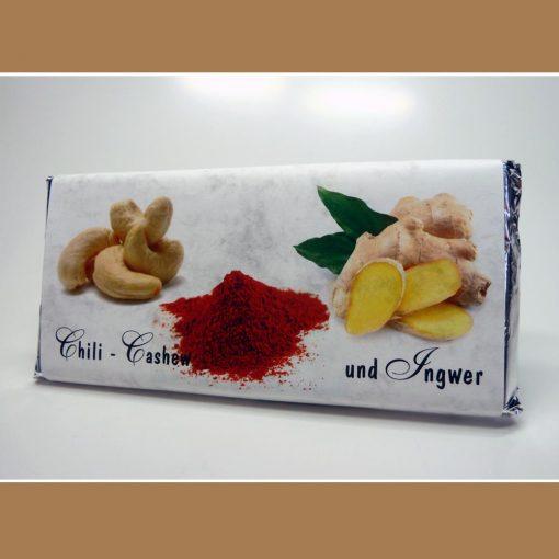 Weisse Schokolade Chili Cashew Ingwer Scharf