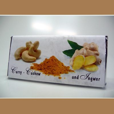 Weisse Schokolade Curry Cashew Ingwer Scharf