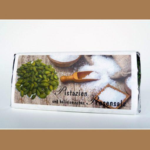 Weiße Schokolade Pistazien Rosensalz